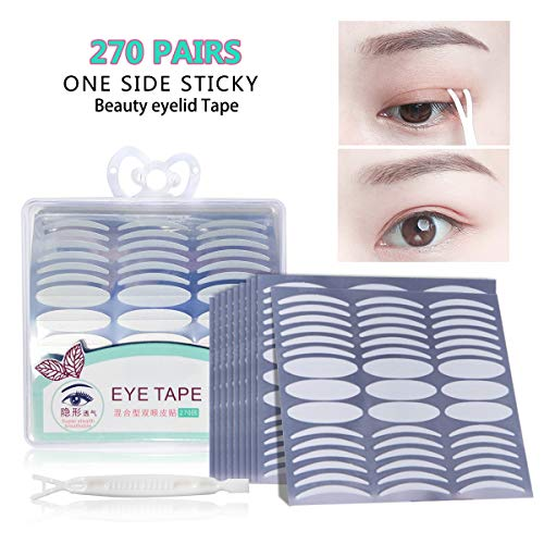 270 Pairs Invisible Beauty Eyelid Tape Instant Eyelid Lift without Surgery,Fiber,Medical Grade Latex Free Hypoallergenic,Perfect for Hooded,Droopy,Uneven,Mono-eyelids,180 Pairs Slim + 90 Pairs Wide (Eyelid Surgery Lift)