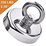 DIYMAG Super Strong Neodymium Fishing Magnets, 330 lbs(150 KG) Pulling Force Rare Earth Magnet with Countersunk Hole Eyebolt Diameter 2.36 inch(60mm) for Retrieving in River and Magnetic Fishing