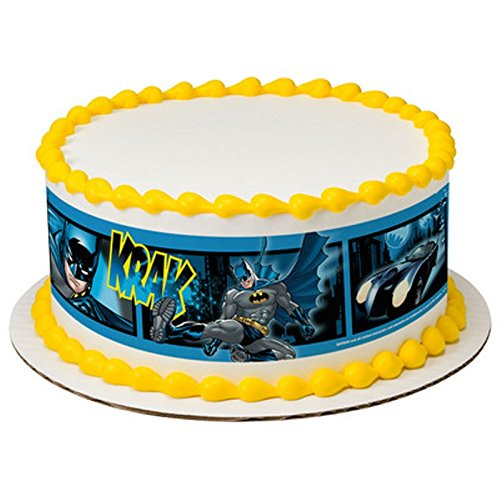Whimsical Practiality Licensed Batman Birthday - Designer Strips - Edible Cake Side Toppers - D7443 (Batman Edible Cake Decorations)