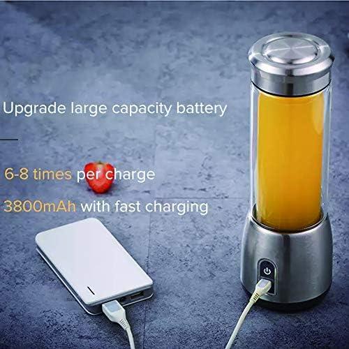 QMMB - Mezclador de zumos portátil, fácil de limpiar, recargable por USB, con 6 cuchillas de acero inoxidable, para el hogar, la oficina y al aire libre