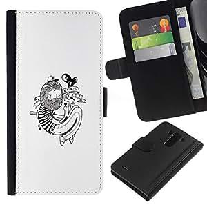 NEECELL GIFT forCITY // Billetera de cuero Caso Cubierta de protección Carcasa / Leather Wallet Case for LG G3 // Hipster Tatuaje