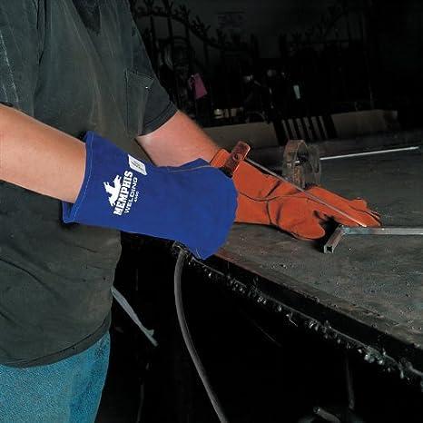 MCR Safety 4500 13-Inch Memphis Split Cow Leather Welder Mens Gloves with Self Hemmed Cuff Blue Medium