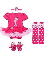 Jubileens Baby Girls' 4PCs 1st Birthday Romper Dress Headband Shoes Leggings Set