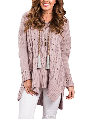 Dokoll Women's Long Sleeve V-Neck Oversized Cozy Loose Fit Knit Sweater Pullover Top