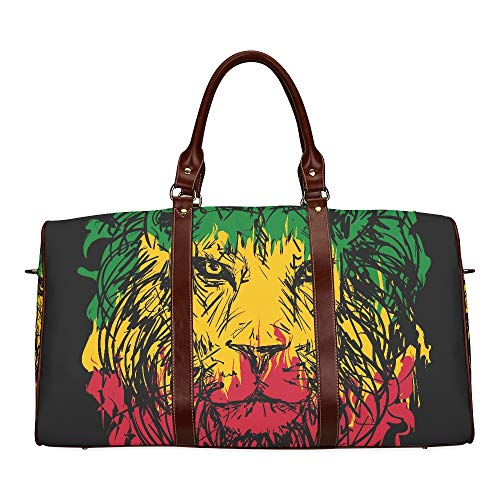 Large Leather Travel Duffel Bag For Men Women Rasta Theme Lion Head On Black Printing Waterproof Overnight Weekend Bag Luggage Tote Duffel Bags For Travel Gym Sports School Beach