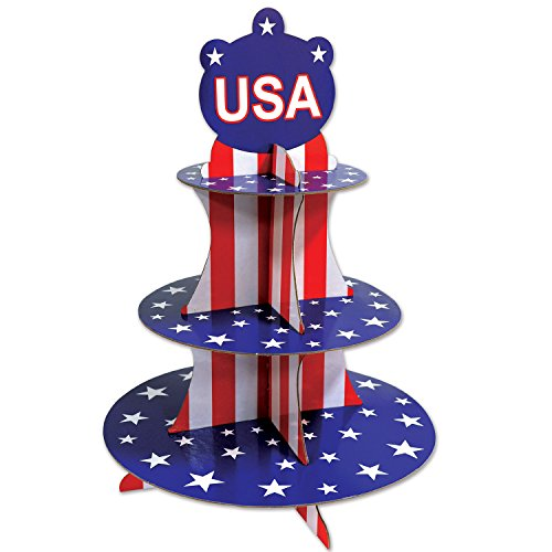 Beistle Patriotic Cupcake Stand | American Event Party Supplies (2-Pack)