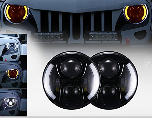 7 inch Headlights w/ Halo DRL & Amber Turn Signal for 1997-2018 Jeep Wrangler TJ JK & Wrangler Unlimited (Pack of 2)