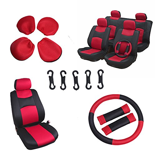 OCPTY Car Seat Cover, Stretchy Universal Seat Cushion w/Headrest/Steering Wheel/Shoulder Pads 100% Breathable Automotive Accessories Durable Washable Mesh Cloth for Most Cars(Red/Black)