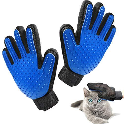 Beikle Pet Grooming Glove – Gentle Deshedding Brush Glove Efficient Pet Hair Remover Mitt – Enhanced Five Finger Design – Perfect for Dog & Cat with Long & Short Fur – 1 Pair