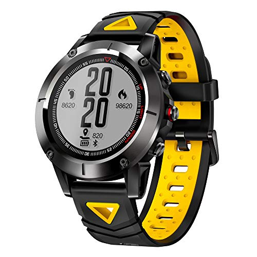 (Kariwell GPS Sport Smart Watch - Call Message /BT4.0 /Heart Rate/Anti-Lost/Remote Camera/Bracelet for Outdoor Running Hiking Swimming Camping Kari-88 (Yellow))