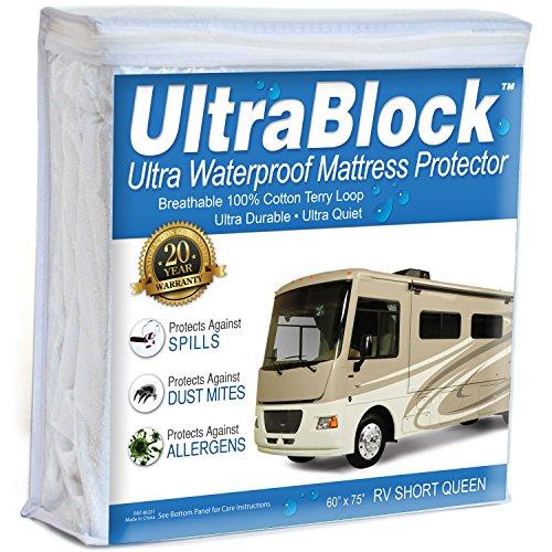 UltraBlock RV Short Queen Waterproof Mattress Protector - Premium Soft Cotton Terry Cover