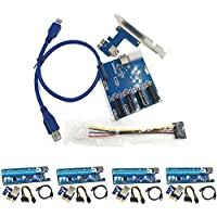 Qjoy PCI-E 1X Expansion Kit 1 to 3 Ports Switch Multiplier Hub Riser Card USB 3 Cable (Type 10)