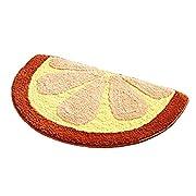 Lopkey Microfiber Non-Slip Water-absorbing Cute Fruits Watermelon Half Round Shaped Bathroom Doorway Kitchen Floor Rug Carpet Mat for Kids Roo