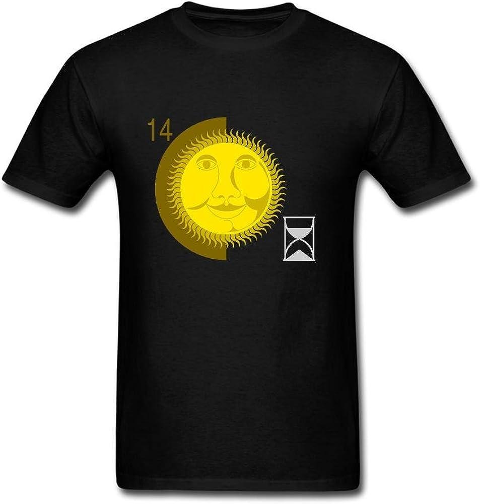 Heerinsy Men's Yellow Sun Energy Face Design Color Short Sleeve T-Shirt S