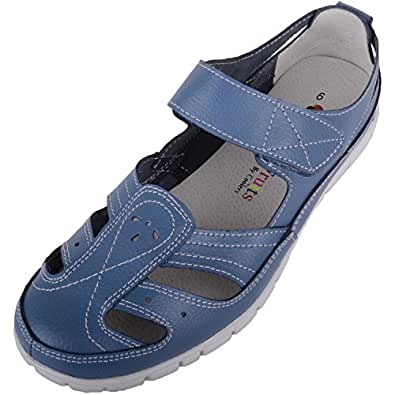 Absolute Footwear Womens Leather Causual/Summer/Holiday EEE Wide Fitting Shoes/Sandals - Blueberry - US 8