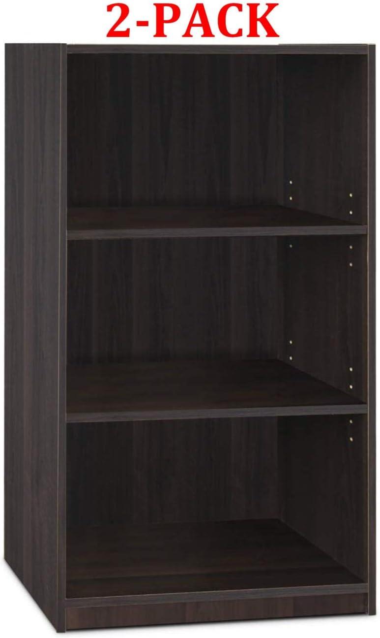 Furinno 11003 3-Tier Open Shelf Bookcase White//Pink