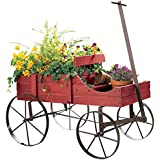 Collections Etc Amish Wagon Decorative Indoor/Outdoor Garden Backyard Planter, Red