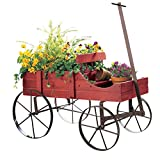Amish Wagon Decorative Indoor Outdoor Garden Backyard Planter, Red ()