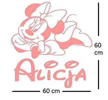Minnie Mouse personalisierte Aufkleber Wandtattoo. Der Name und die ...