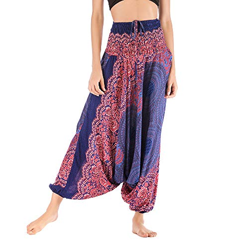 Harem Pants Women's Hippie Bohemian Yoga Pants One Size Aladdin Harem Hippie Pants Jumpsuit Smocked Waist 2 in 1 (Free, Blue) by BingYELH Yoga (Image #1)