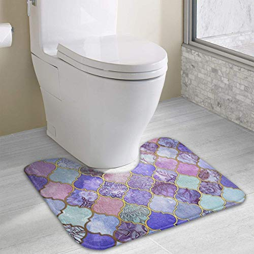 casually Mermaid Scale Cute Bath Mat Toilet Carpet Doormats Floor Rugs for Bathroom Toilet 19.2″x15.7″