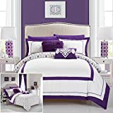 Chic Home 7 Piece Beckham Contemporary geometric reversible Bold Lines hotel collection bed in bag, Purple