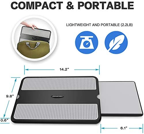 AboveTEK Portable Laptop Lap Desk w/Retractable Left/Right Mouse Pad Tray, Non-Slip Heat Shield Tablet Notebook Computer Stand Table w/Sturdy Stable Cooler Work Surface for Bed Sofa Couch or Travel 51YCwIgUoSL