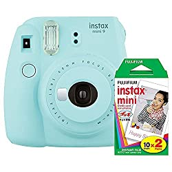Click instant candid photos with the Fuji Instax Mini 9 Ice Blue Camera. It works with the Fujifilm Instax Mini instant film that is provided with it. The camera comes with a Fujinon 60mm f/12.7 lens, which captures images from a minimum focus distan...