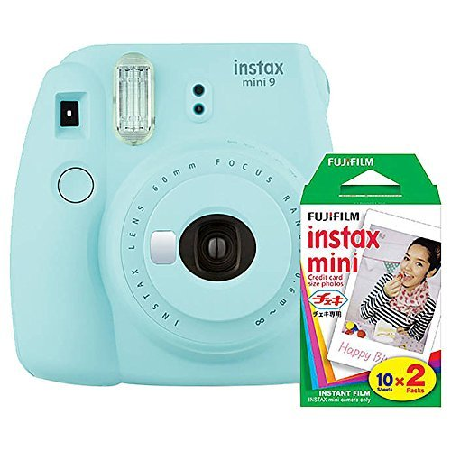 Fujifilm Instax Mini 9 (Ice Blue) Instant Camera with Mini Film Twin Pack (Best Polaroid Camera Of All Time)