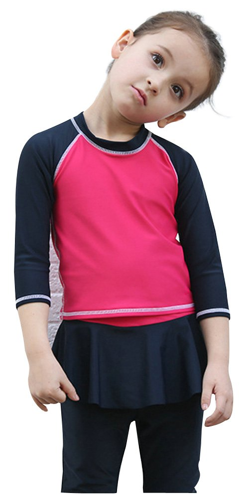 ilishop Kid Girls Two-Piece Swimsuits Long Sleeve Rashguard UPF 50+ Rash Guards CY-FMY1116