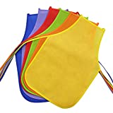 Jespekerere Kids Apron Colorful Durable Non-woven Polyester, 2-6 Years Old Children Craft Smock Aprons for Baking, Cooking, Painting, Assorted Variety DIY Activities Sleeveless Aprons Pack of 6