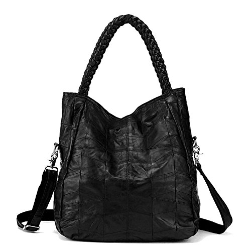 Jack&Chris Soft Leather Tote Handbags for Women Foldable Satchel Purse Shoulder Crossbody Bag, WB512 (black) (Braid Satchel Handle)