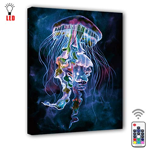 Coming My House Canvas Wall Painting Art Led with Remote Control,RGB Led Marine Jellyfish Picture Canvas Wall Art for Living Room,7 Colors Change,Battery Operated-15.75
