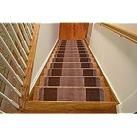 Millenium Stair Tread Treads Meander Greek Key Design Indoor Skid Slip Resistant Carpet Stair Tread Treads Machine Washable 8 ½ inch x 30 inch (Set of 13, Meander Cappuccino Brown)