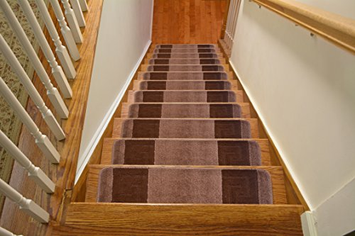 Millenium Stair Tread Treads Meander Greek Key Design Indoor Skid Slip Resistant Carpet Stair Tread Treads Machine Washable 8 ½ inch x 30 inch (Set of 13, Meander Cappuccino Brown) (Best Colour Carpet For Stairs)