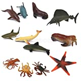 12 Plastic Ocean Creatures Shark Whale Crab Xmas Stocking Filler Party Gift