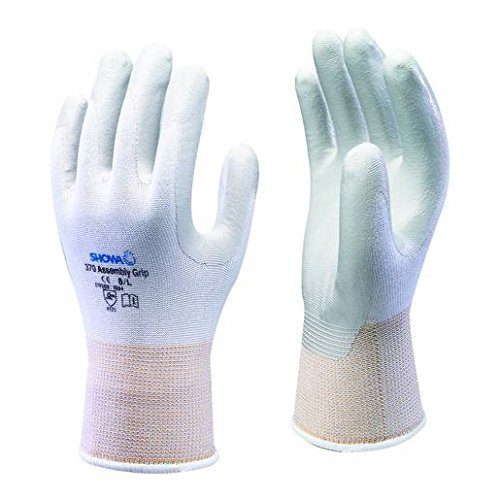 10 Pairs Of Showa 370 White Assembly Grip Gloves Nitrile Coated Palm - Size 8 Large