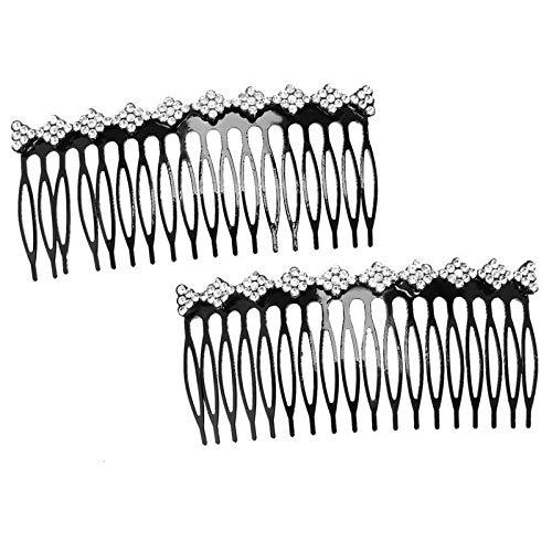 Plastic Decorative Comb Women Lady Rhinestone Hair Clip Comb Slide Hair Cli L7K3 - Strass Chocolate