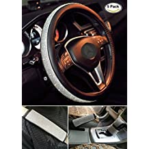 "Sino Banyan Universal 15"" Bling Steering Wheel Covers Seat Belt Cover Car Handbrake Cover Gear Shift Case 5 PCS"