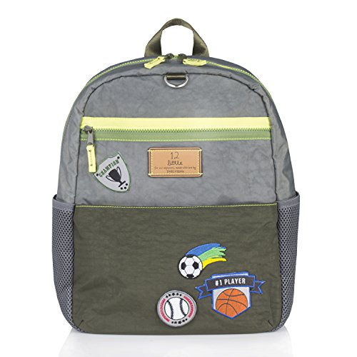 TWELVElittle Big Kid Courage Backpack, Grey/Olive (Nylon Zipper Big Crinkle)
