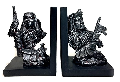 Bellaa 29769 Native American Bookends Red Indian Warrior Chief - Indian Bookends