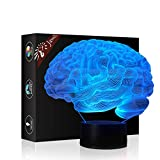 Christmas Gift Brain 3D Illusion Night Light Beside Table Lamp, Jawell 7 Colors Auto Changing Touch Switch Desk Decoration Birthday Present with Acrylic Flat & ABS Base & USB Cable