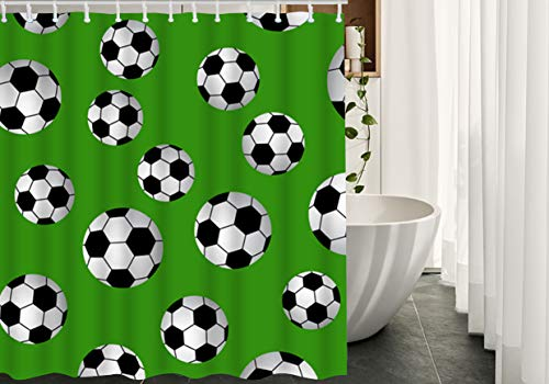 Migant Football Shower Curtains Decor Ball Soccer Waterproof Polyester Fabric Bathroom Shower Curtain Set with Hooks Green Black White 66Wx72L Inch