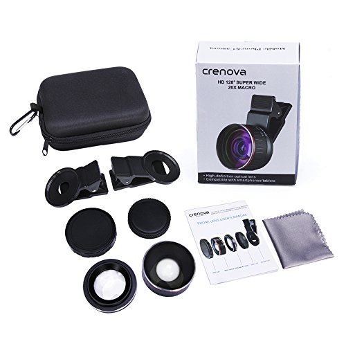 Crenova Phone Camera Lens Kit, 0.45x Wide Angle Lens, HD 128° Super Wide Angle 20X Macro Lens, Clips-On Cell Phone Lens for iPhone/Samsung/Android/Most Smartphones and Tablets by Crenova (Image #6)