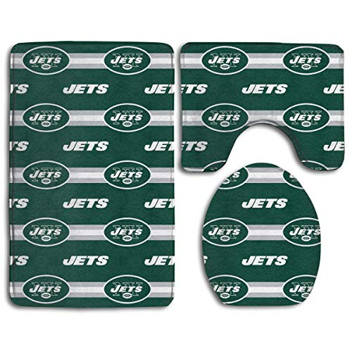 - RRSS-KURUI301 Custom Colorful Doormat American Football Team New York Jets Indoor Bathroom Anti-Skid Mats,3 Piece Non-Slip Bathroom Rugs,Non-Slip Mat Bath + Contour + Toilet Lid