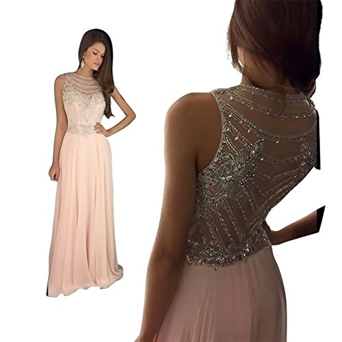 [HONGFUYU Women's Top Quality2017 Crystal Beaded Prom Dresses Briadal Evening Gown Pink-Customize] (Jkara Woman Beaded Chiffon Gown)