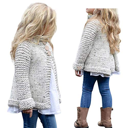 Toddler Baby Girls Clothes Cute Button Knitted Sweater Cardigan Warm Thick Coat Tops (6-7 Years Old, Beige)