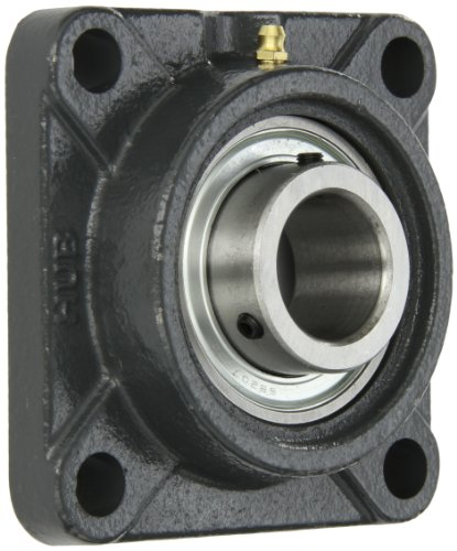 Hub City FB250URX1-1/4 Flange Block Mounted Bearing, 4 Bolt, Normal Duty, Relube, Setscrew Locking Collar, Narrow Inner Race, Cast Iron Housing, 1-1/4'' Bore, 1.673'' Length Through Bore, 3.622'' Mounting Hole Spacing by Hub City