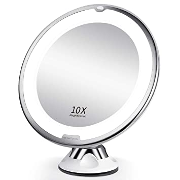 10x Magnifying Makeup Mirror.Beautural 10x Magnifying Makeup Mirror With Led Lighted Magnifying Vanity Makeup Mirror For Home Tabletop Bathroom Shower Travel 360 Degree