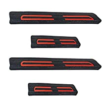 Carbon Fiber Auto Car Door Sill Panel Plate Protector Cover Guard Protective Trim Stickers+Red High Intensity Reflective Tape For 2015 2016 Chevrolet Suburban Tahoe GMC Yukon 4pcs 4pcs